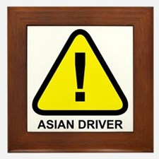 Asian Driver Alert Framed Tile
