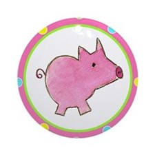 Pink Piggy Polka Dot Ornament (Round)