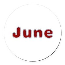 June Santa Fur Round Car Magnet