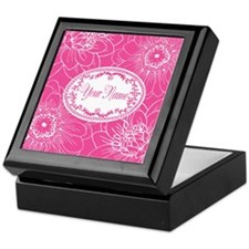 Pink Flower Blossoms Personalized Keepsake Box