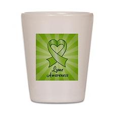 Lyme Disease Awareness Heart Ribbon Shot Glass