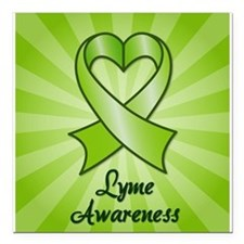 Lyme Disease Awareness Heart Ribbon Square Car Mag