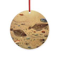 Vintage Marine Life Fish, Flounders Round Ornament