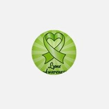Lyme Disease Awareness Heart Ribbon Mini Button