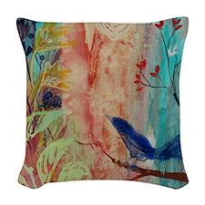 Rhythm and Blues Bird Woven Throw Pillow