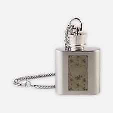 Vintage 30's Powder box print  Flask Necklace