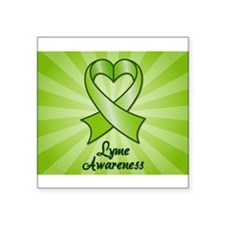 Lyme Disease Awareness Heart Ribbon Square Sticker