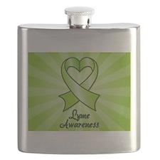 Lyme Disease Awareness Heart Ribbon Flask