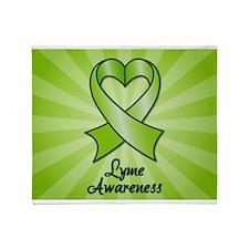 Lyme Disease Awareness Heart Ribbon Throw Blanket