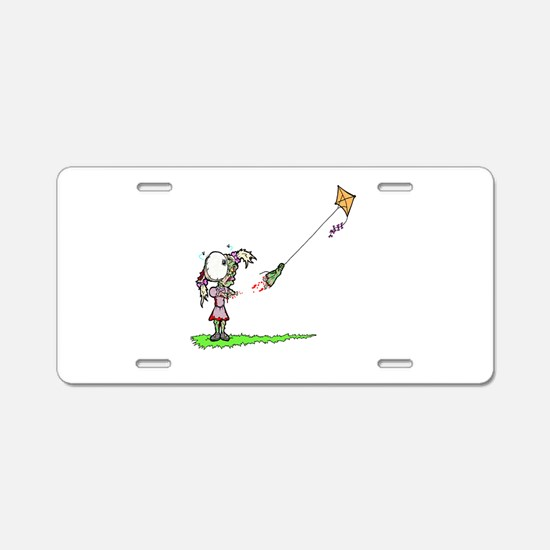 Zombie Girl with Kite Aluminum License Plate