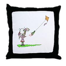 Zombie Girl with Kite Throw Pillow