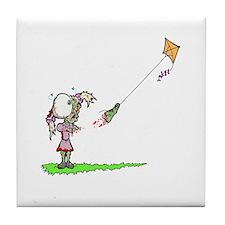Zombie Girl with Kite Tile Coaster