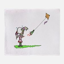 Zombie Girl with Kite Throw Blanket