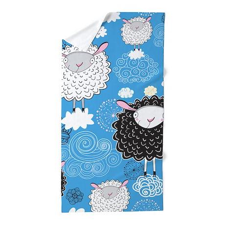 Whimsical Sheep Beach Towel