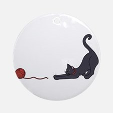 Cat and Yarn Ornament (Round)