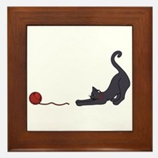 Cat and Yarn Framed Tile