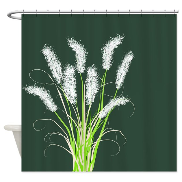 Ornamental Grasses Dark Green Shower Curtain By GailGabel