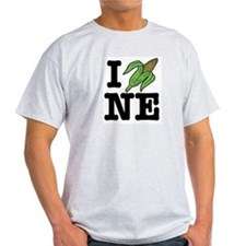 I Love Nebraska (corn) Ash Grey T-Shirt