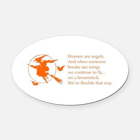 women-broomstick-orange Oval Car Magnet