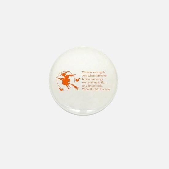 women-broomstick-orange Mini Button (10 pack)