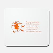 women-broomstick-orange Mousepad