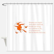 women-broomstick-orange Shower Curtain