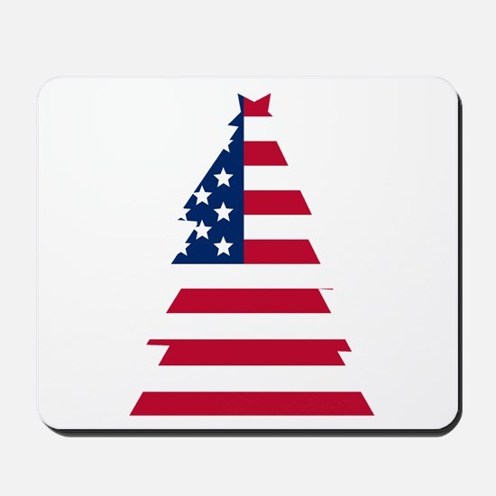 American Flag Christmas Tree Mousepad