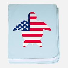 American Flag Sea Turtle baby blanket