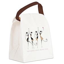 Fun Tripawd Cats Dancing Canvas Lunch Bag
