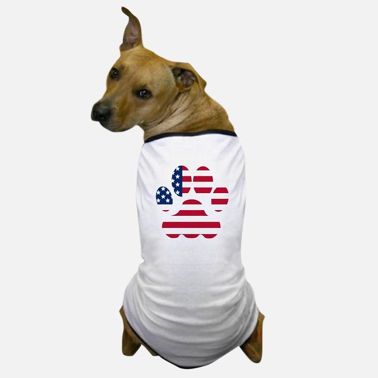 American Flag Dog Paw Dog T-Shirt