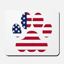 American Flag Dog Paw Mousepad