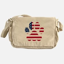 American Flag Dog Paw Messenger Bag