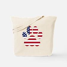 American Flag Dog Paw Tote Bag