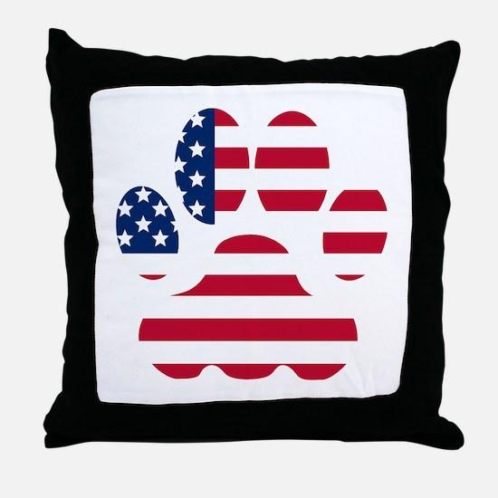 American Flag Dog Paw Throw Pillow