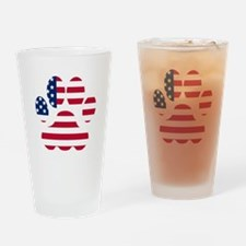 American Flag Dog Paw Drinking Glass
