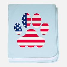 American Flag Dog Paw baby blanket