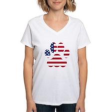 American Flag Dog Paw T-Shirt