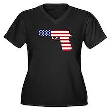 American Flag Gun Plus Size T-Shirt