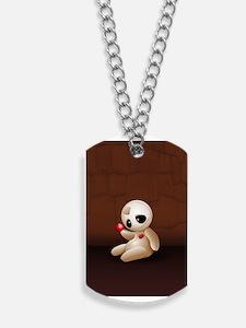 Voodoo Doll Cartoon in Love Dog Tags