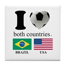 BRAZIL-USA Tile Coaster