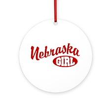 Nebraska Girl Ornament (Round)