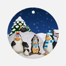 Penguin Family Winter Holiday Fun Ornament (Round)