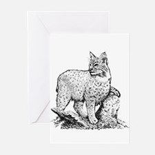 Bobcat (line art) Greeting Cards