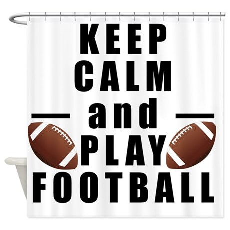 keep calm and play football shower curtain