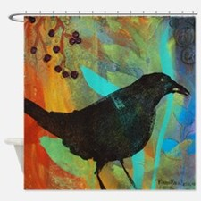 Blackbird and Berries Shower Curtain