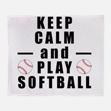 Keep Calm and Play Softball Throw Blanket