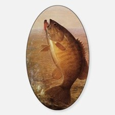 Vintage Largemouth Brown Bass Fish Sticker (Oval)