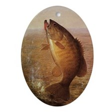Vintage Largemouth Brown Bass Fish Oval Ornament