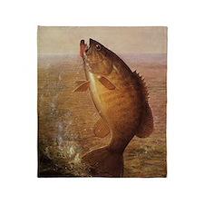 Vintage Largemouth Brown Bass Fish Throw Blanket