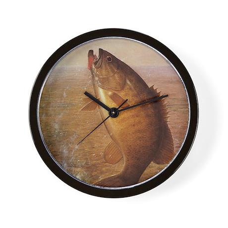 Vintage Largemouth Brown Bass Fish Wall Clock